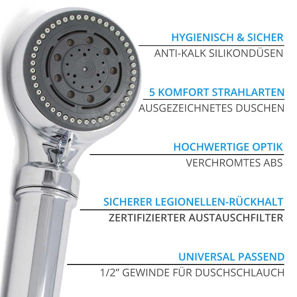 Legionellenfilter Duschkopf Safety Chrom Vorteile